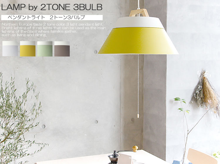 天井照明 LAMP by 2TONE 3BULB PENDANT