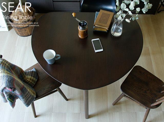 半円形ダイニングテーブル SEAR(シアー) ブラウンタイプ