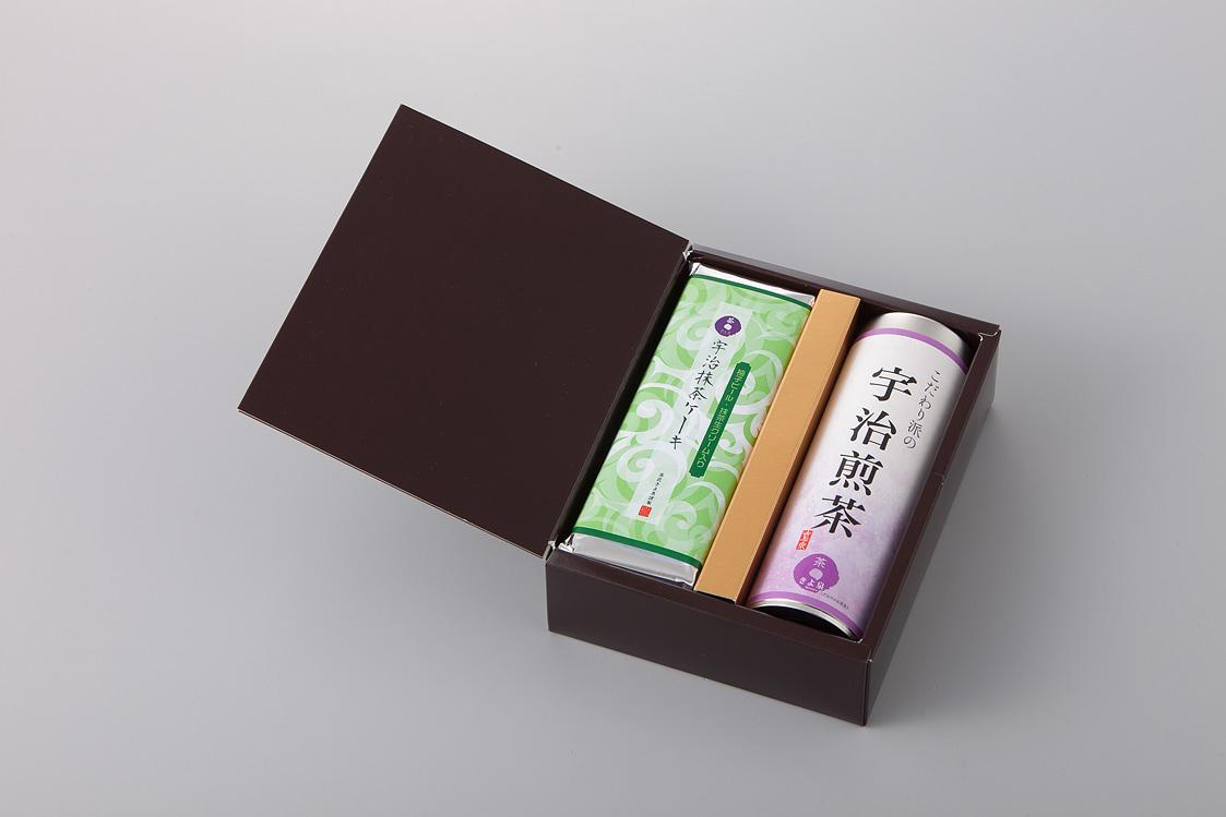 宇治抹茶ケーキ「柚子」と宇治茶