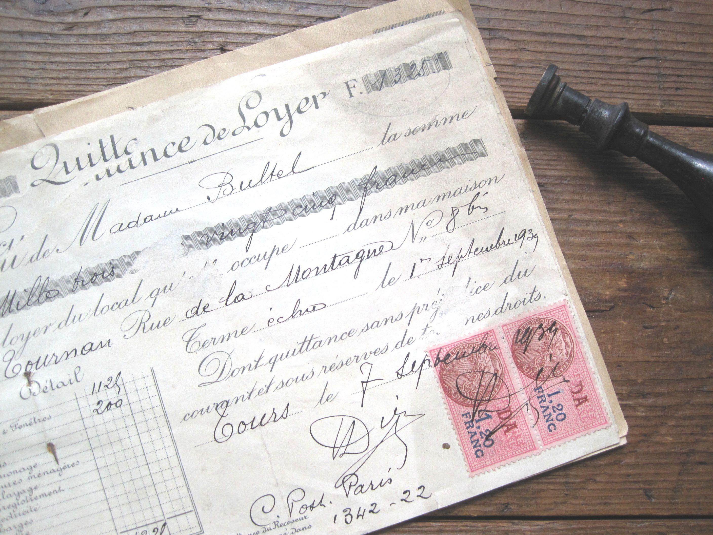 フランスアンティーク 領収書7pセット 1938年