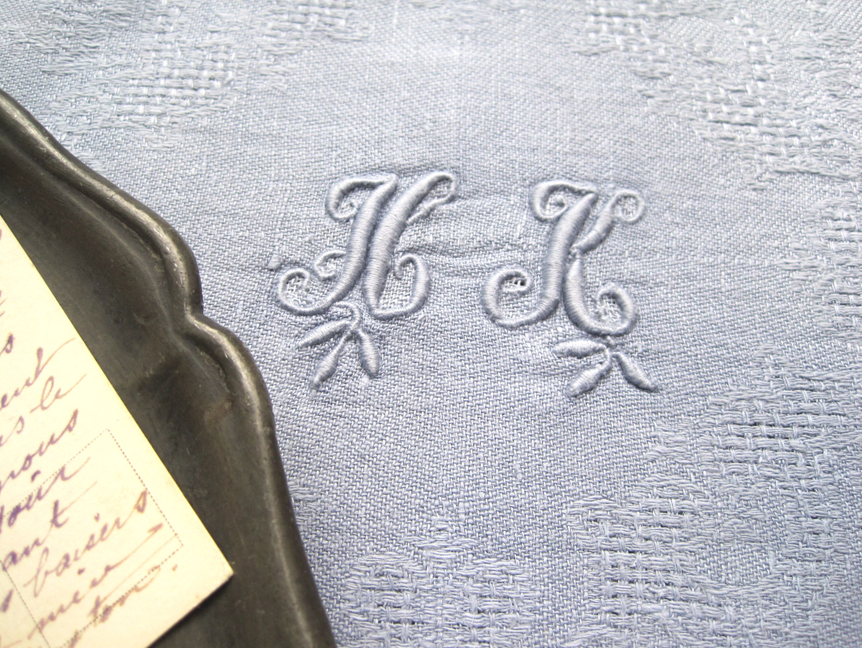 フランスアンティーク ダマスク織りリネンテーブルナプキン HK ブルーグレー