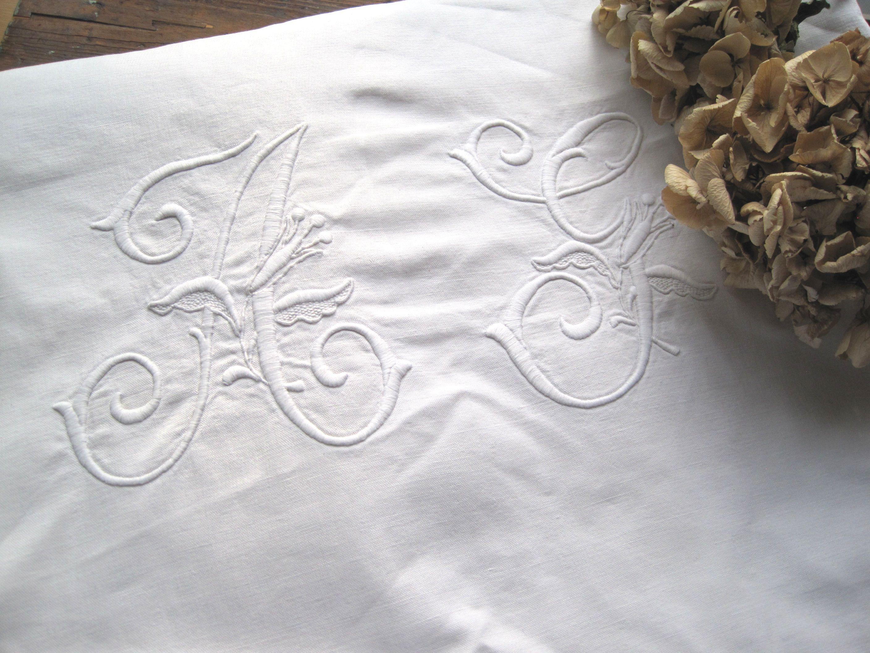 フランスアンティーク 白刺繍モノグラムリネンシーツ AY