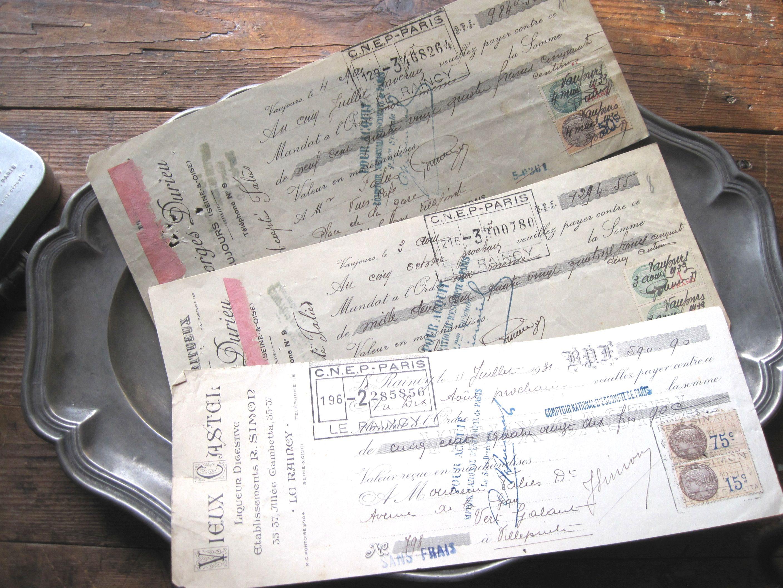 フランスアンティーク 印紙付き小切手3p C 1930年代