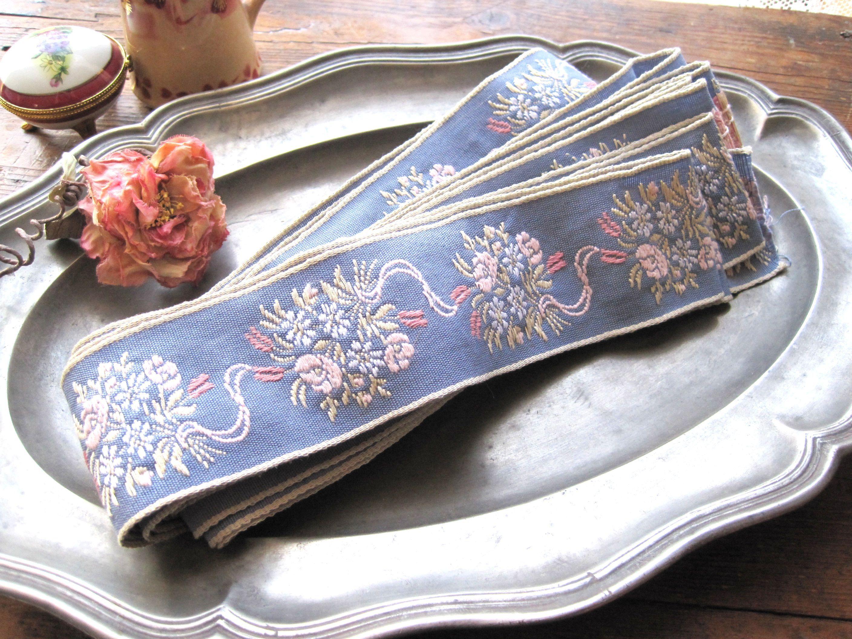 フランスアンティーク お花刺繍リボンテープ 幅5,5cm 50cmカット売り