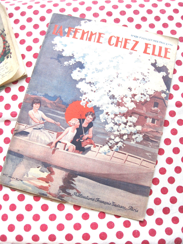 フランスアンティーク 手芸雑誌 LA FEMME CHEZ ELLE B 1928年