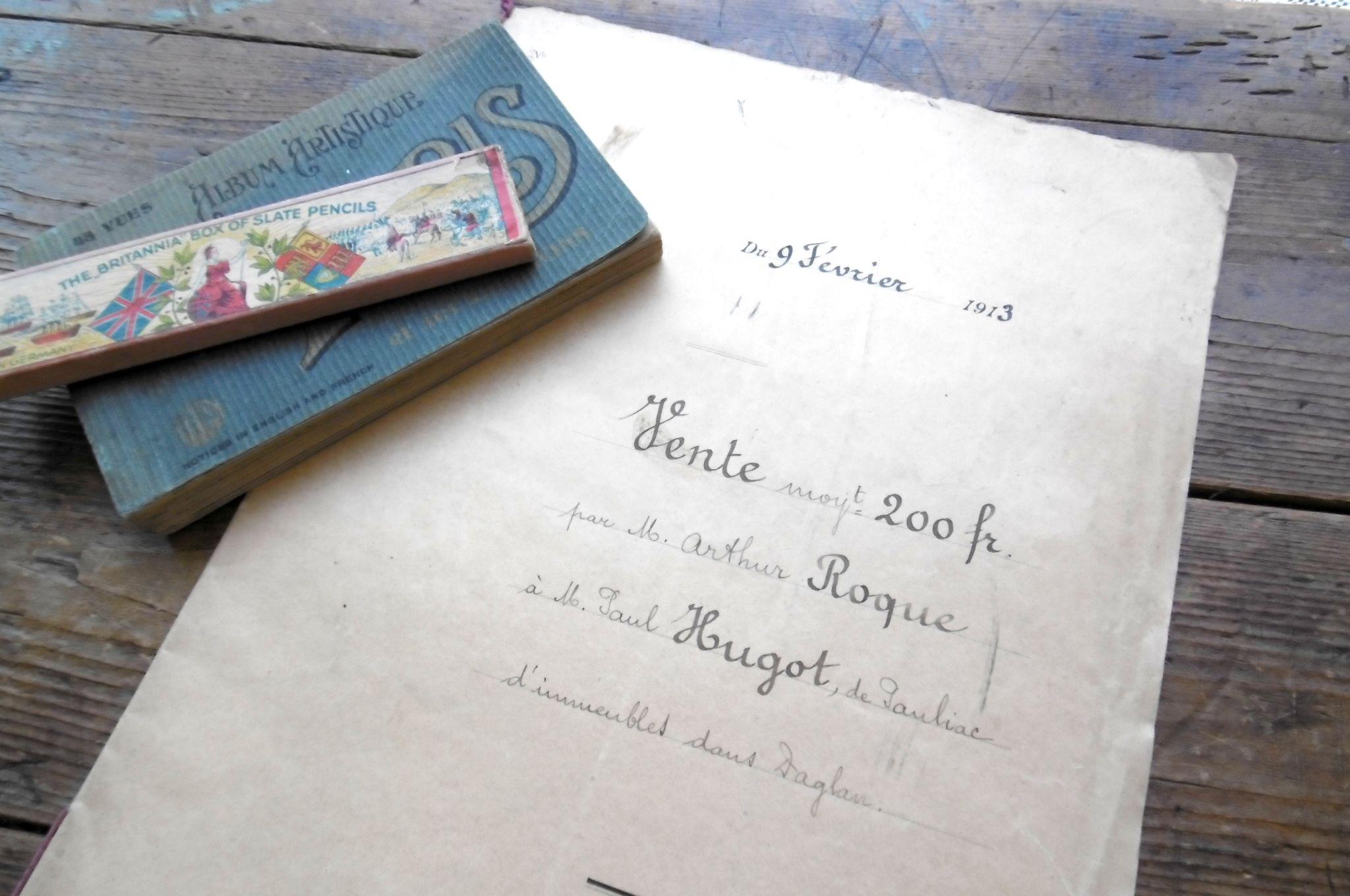 フランスアンティ-ク 古文書マニュスクリ 1913年
