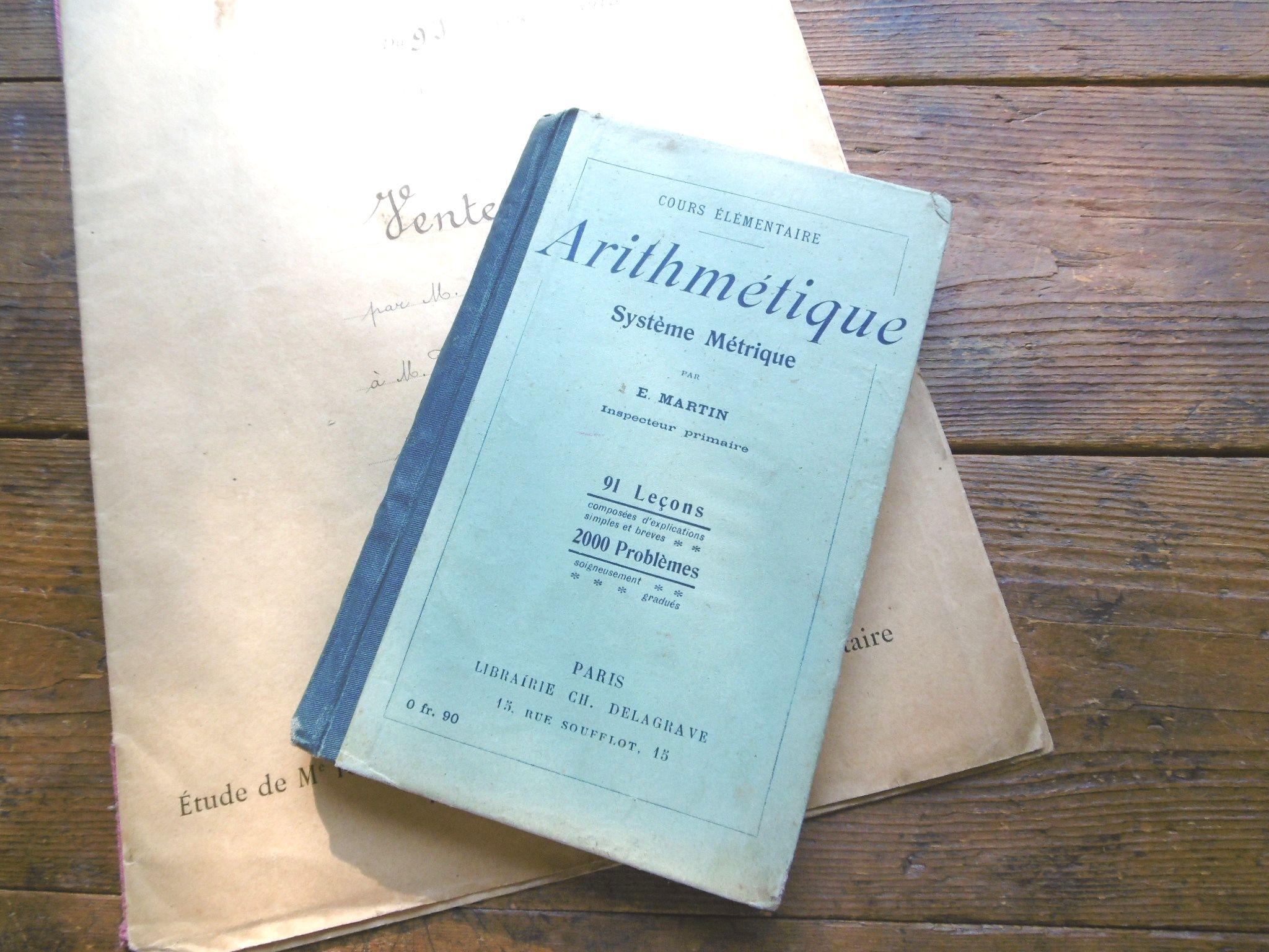 フランスアンティーク 古書学校算数テキスト Arithmetique  1900年代初頭