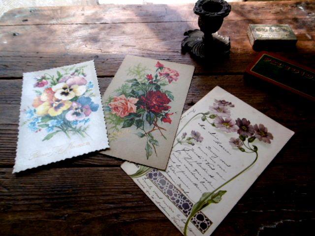 フランスアンティーク 花のポストカード3pセット