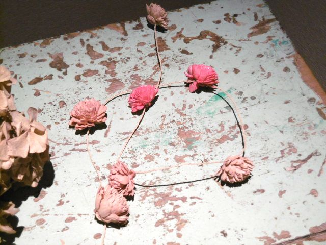 フランスアンティーク シャビーペイントなテーブル ミントグリーン