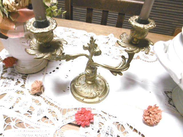 フランスアンティーク アールヌーボーのキャンドルスタンド 2灯