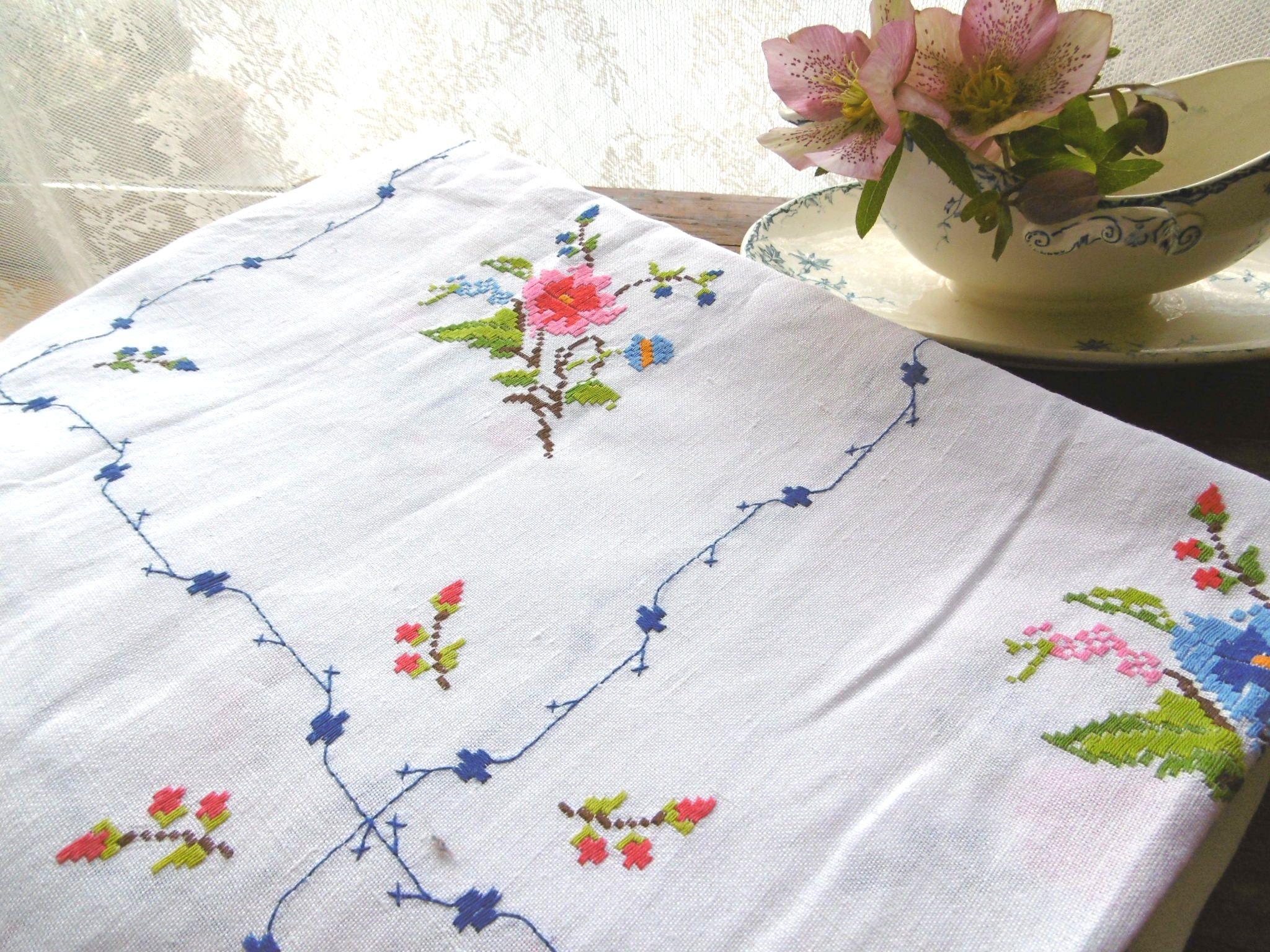 フランスアンティーク バラ刺繍リネンテーブルクロス 大