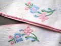 フランスアンティーク 花刺繍コットンテープ 白地 100cm×2本