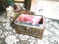 フランスアンティーク クリスタルガラス&真鍮ジュエリーボックス