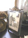 フランスアンティーク ガラス&真鍮フォトスタンド レクタングル リボンモチーフ