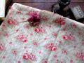 フランスアンティーク コットン花柄ファブリック バラ