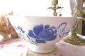 フランスアンティーク DIGOIN青バラのカフェオレボウル φ17,3cm