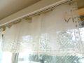 フランスアンティーク ホワイト刺繍リネンカフェカーテン