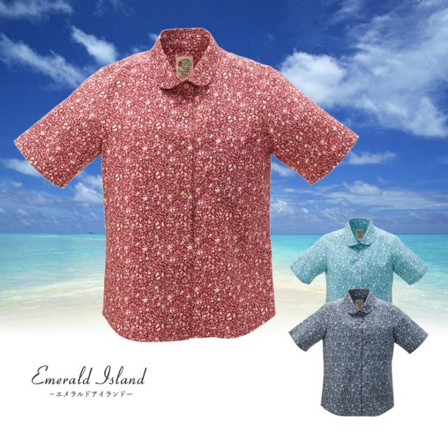 かりゆしウェア 沖縄産アロハシャツ レディース 小花柄 丸衿シャツ