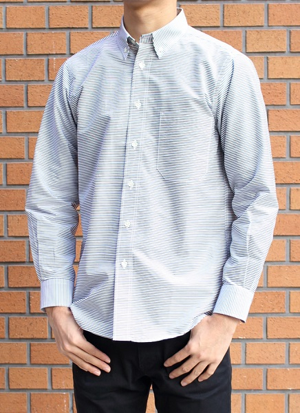 日本製 メンズ長袖布帛ボタンダウンシャツ・ボーダー柄