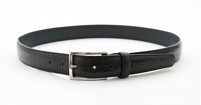 attire CROCODILE EMBOSS LEATHER BELT