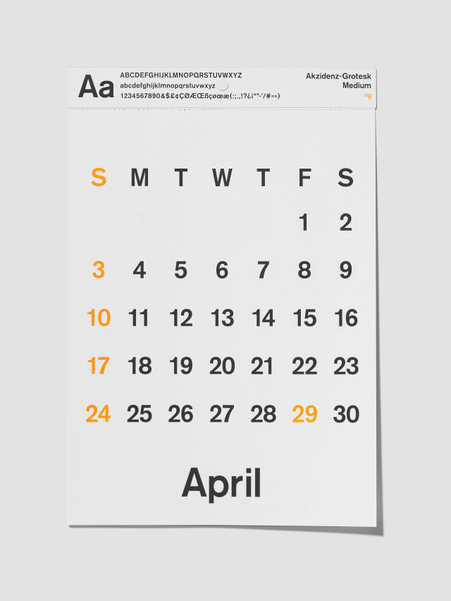 "2016 D-BROS(ディーブロス) カレンダー 「TYPEFACE CALENDAR タイプフェイスカレンダー」 ""Akzidenz-Grotesk"""