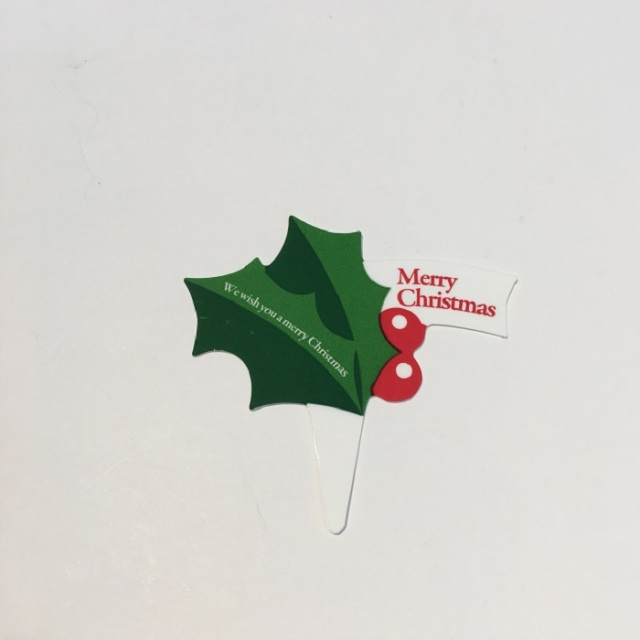 クリスマスケーキピック-ヒイラギ