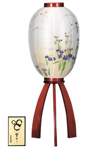 盆提灯 紫菖蒲(むらさきしょうぶ)絹二重絵入