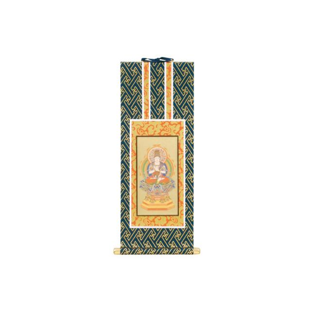 オリジナル掛軸 本尊 紺表装 金地