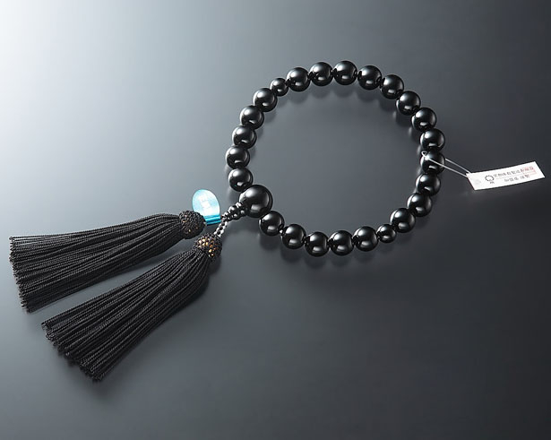 男性用 略式数珠(片手念珠) 黒オニキス 22珠共仕立正絹頭