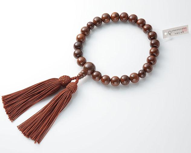男性用 略式数珠(片手念珠) 虎檀 22珠共人頭