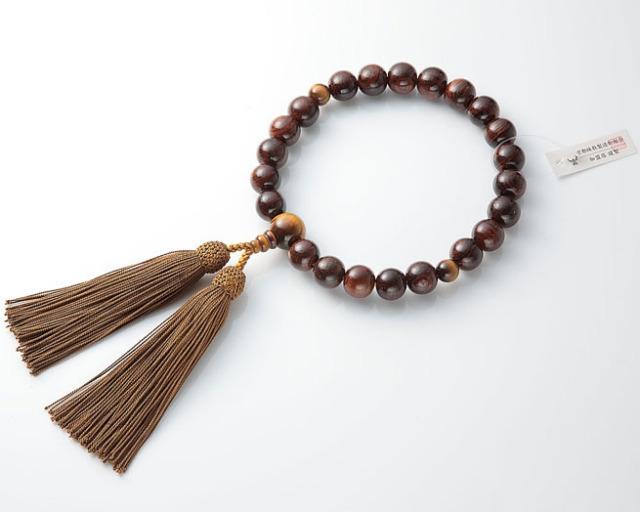 男性用 略式数珠(片手念珠) 虎檀 22珠虎目仕立正絹頭