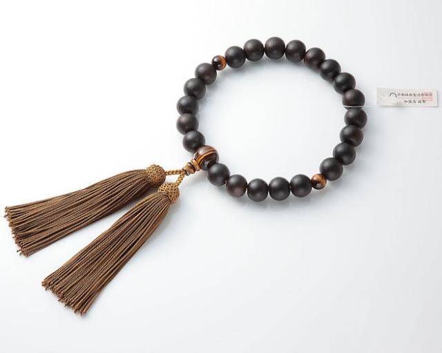 男性用 略式数珠(片手念珠) 素挽黒檀 22珠虎目仕立正絹頭