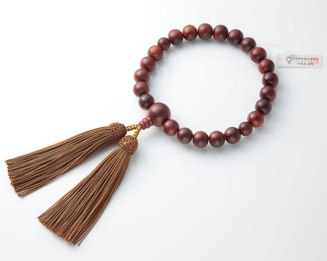 男性用 略式数珠(片手念珠) 素挽紫檀 22珠共人頭