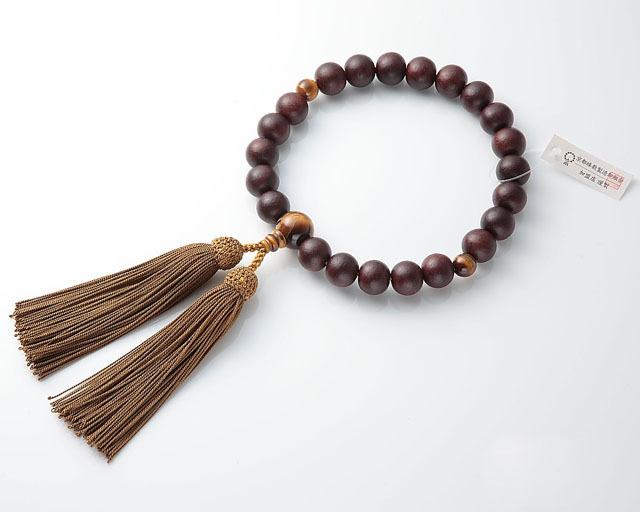 男性用 略式数珠(片手念珠) 素挽紫檀 22珠虎目仕立正絹頭