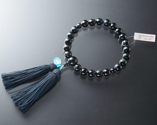 男性用 略式数珠(片手念珠) 特上青虎目石 22珠共仕立正絹頭