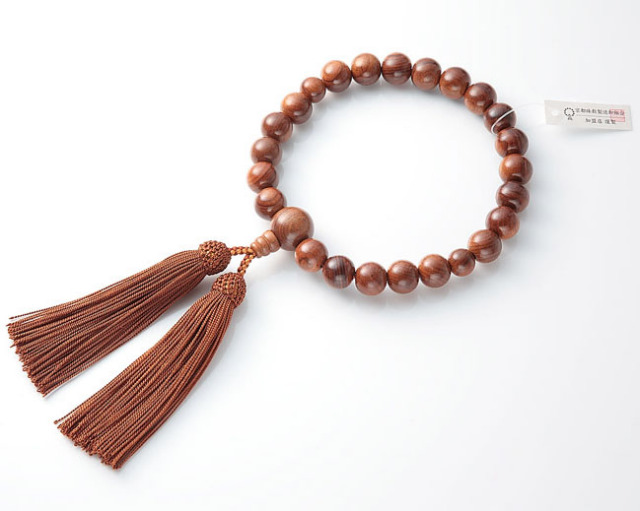 男性用 略式数珠(片手念珠) 素挽栴檀 22珠共人頭