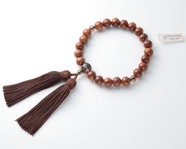 男性用 略式数珠(片手念珠) 素挽栴檀 22珠茶水晶仕立正絹頭