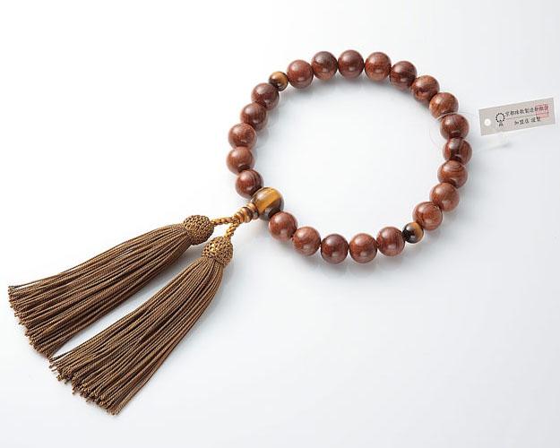 男性用 略式数珠(片手念珠) 素挽栴檀 22珠虎目仕立正絹頭