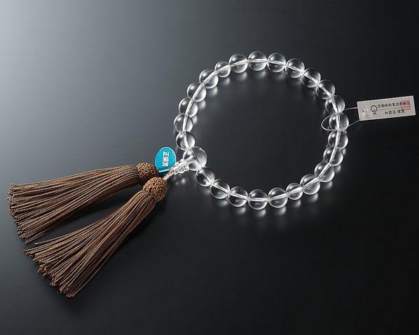 男性用 略式数珠(片手念珠) 本水晶 22珠共仕立正絹頭