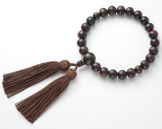 男性用 略式数珠(片手念珠) 縞黒丹