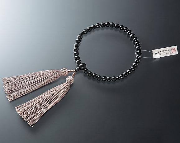 女性用 略式数珠(片手念珠) 黒オニキス7ミリ 共仕立東雲房