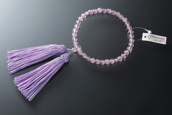 女性用 略式数珠(片手念珠) ガラス藤雲石7ミリ 共人頭