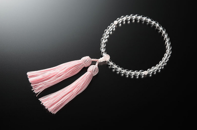 女性用数珠(念珠) 本水晶 天然石 紅水晶仕立