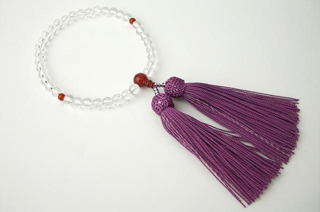 女性用数珠(念珠) 本水晶 天然石 メノー仕立
