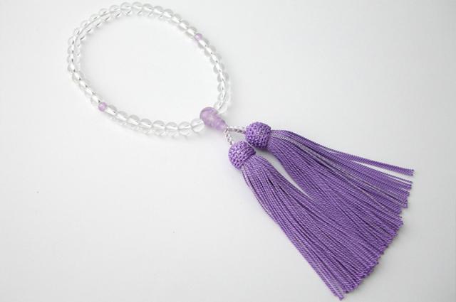 女性用数珠(念珠) 本水晶 天然石 籐雲石仕立