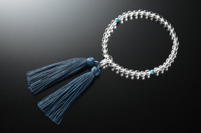 女性用数珠(念珠) 本水晶 天然石 二天トルコ石