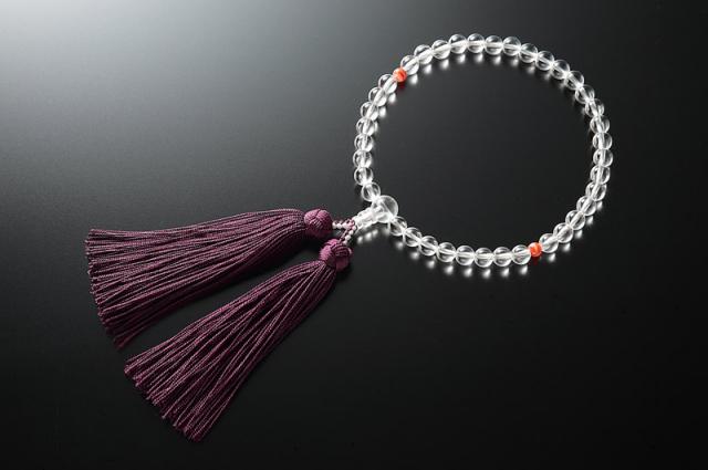 女性用数珠(念珠) 本水晶 天然石 二天赤縞メノー