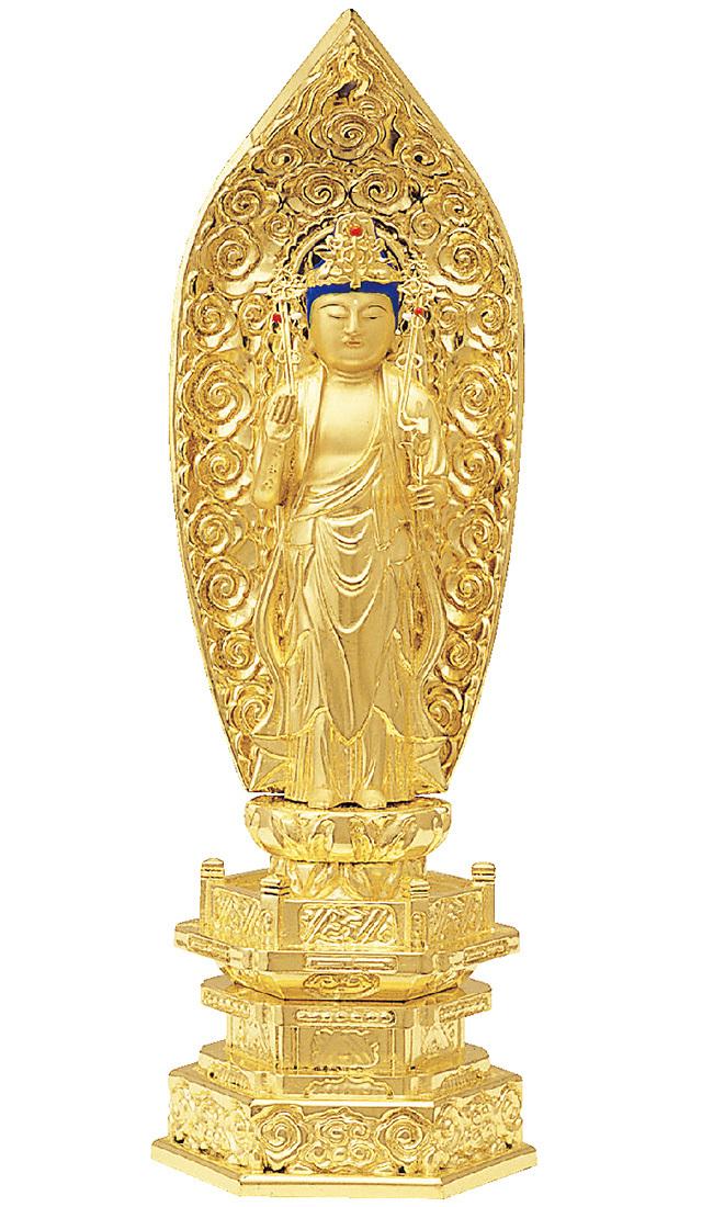 純金箔押 中京型 七重台座 聖観音 肌金粉仕上げ