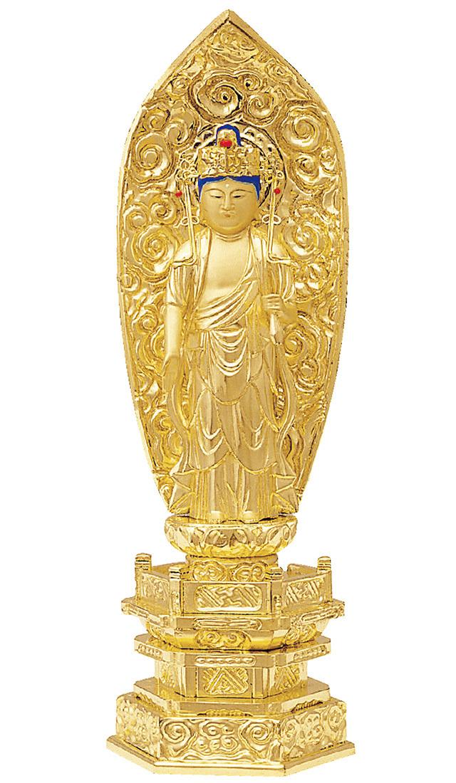 純金箔押 中京型 七重台座 十一面観音 肌金粉仕上げ