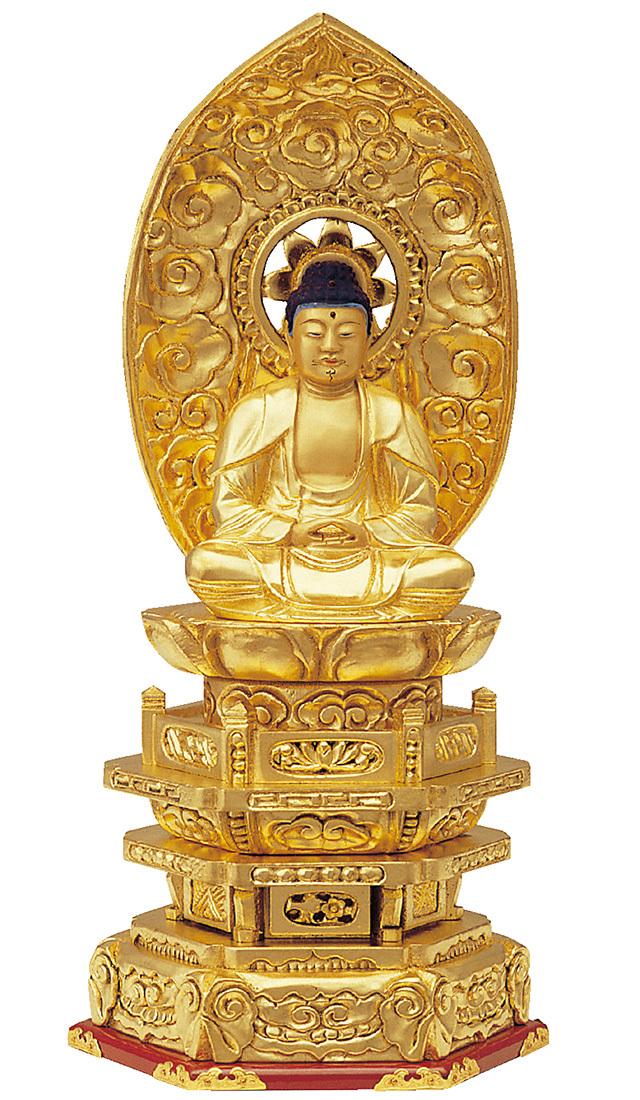 木製 純金並京 座釈迦 肌粉
